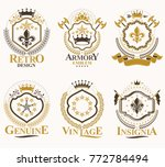 set of vector retro vintage... | Shutterstock .eps vector #772784494