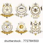 set of vector retro vintage...   Shutterstock .eps vector #772784503