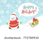 merry christmas greeting card.... | Shutterstock .eps vector #772785910