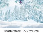 falling snow on forest trees ...   Shutterstock . vector #772791298