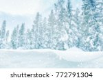 falling snow on forest trees ... | Shutterstock . vector #772791304