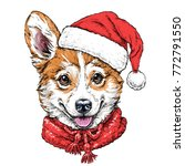 christmas card with puppy... | Shutterstock .eps vector #772791550