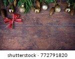 christmas balls decor on old... | Shutterstock . vector #772791820