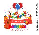 happy carnival. a tape with an... | Shutterstock . vector #772793830