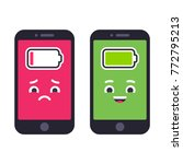 two smartphones with cute... | Shutterstock .eps vector #772795213