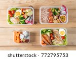 various of healthy lunch boxes  ... | Shutterstock . vector #772795753