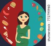a pregnant girl makes a choice. ...   Shutterstock .eps vector #772795960