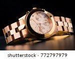 closeup the rose gold wrist...   Shutterstock . vector #772797979