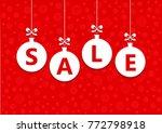 sale word on white christmas... | Shutterstock .eps vector #772798918