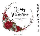 floral greeting valentine card... | Shutterstock .eps vector #772801033