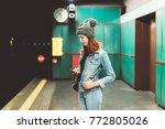 young woman indoors underground ... | Shutterstock . vector #772805026