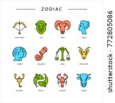 zodiac signs isolated on... | Shutterstock . vector #772805086