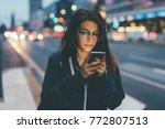 young woman mixed race outdoor... | Shutterstock . vector #772807513
