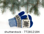 christmas mittens are isolated... | Shutterstock . vector #772812184
