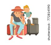 father and son sit on suitcases ... | Shutterstock .eps vector #772814590