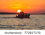 Beautiful Sunset Over Sea With...