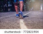 close up shoe of runner feet... | Shutterstock . vector #772821904