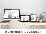 multidevice desktop with online ...   Shutterstock . vector #772830874
