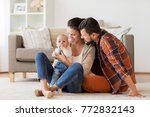 family  parenthood and people... | Shutterstock . vector #772832143