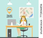 taxi call service. woman with... | Shutterstock .eps vector #772836856