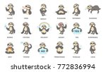 sloth sticker set. sad and fun  ... | Shutterstock .eps vector #772836994