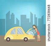 woman with broken car's engine... | Shutterstock .eps vector #772838668