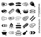 set of 25 barbecue filled and... | Shutterstock .eps vector #772838944