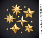 glowing realistic golden stars... | Shutterstock .eps vector #772840018