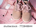 kid's pink set of clothes and... | Shutterstock . vector #772848844