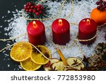 three red advent burning... | Shutterstock . vector #772853980