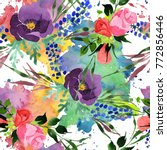 bouquet flower pattern in a... | Shutterstock . vector #772856446
