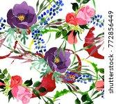 bouquet flower pattern in a...   Shutterstock . vector #772856449