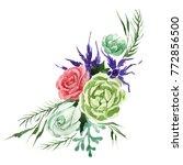 bouquet flower in a watercolor... | Shutterstock . vector #772856500