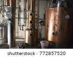 copper still alembic inside... | Shutterstock . vector #772857520