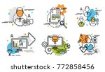 set of outline icons of team.... | Shutterstock .eps vector #772858456