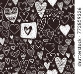 funny doodle hearts icons... | Shutterstock .eps vector #772859326