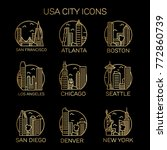 Usa City Icons. Vector...