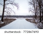 winter landscape  river along... | Shutterstock . vector #772867693