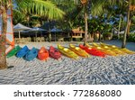 view of colorful kayaks on the...   Shutterstock . vector #772868080