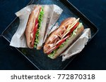 turkey and cheese sandwich | Shutterstock . vector #772870318