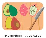 exotic fruits on a cutting...   Shutterstock .eps vector #772871638