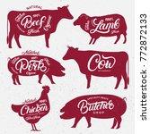 set of butchery logo  label ... | Shutterstock .eps vector #772872133