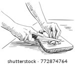 sketch of hands carefully... | Shutterstock .eps vector #772874764