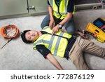 position for using both hands... | Shutterstock . vector #772876129