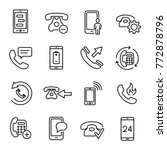 set of 25 phone thin line icons.... | Shutterstock .eps vector #772878796