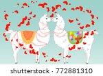 two lovers kissing llamas...   Shutterstock .eps vector #772881310
