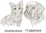 linear silhouettes cat and dog ... | Shutterstock .eps vector #772889509