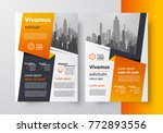 orange ribbon brochure desig... | Shutterstock .eps vector #772893556