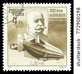 Small photo of Hungary - stamp printed 1988, Multicolor Edition offset printing, Topic Aviation, Series 150th anniversary of the birth of the German airship designer Ferdinand von Zeppelin, Lz 4
