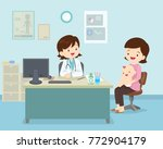 family to see doctor sitting at ... | Shutterstock .eps vector #772904179